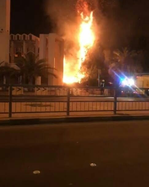 نشوب حريق بجوار مسجد الصادق «ع» في القفول