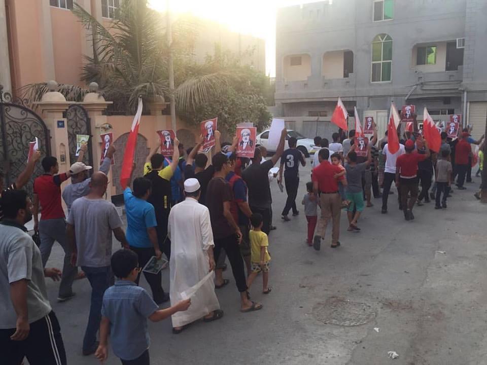 تظاهرة «العمّة الشامخة» غرب المنامة رفضًا لاعتقال «الشيخ الزاكي»