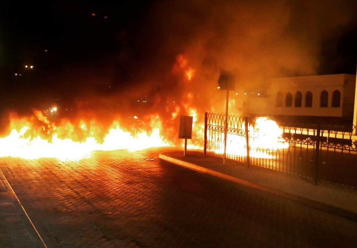 حراك ثوريّ في شارع خطّ النار المؤدي إلى العاصمة المنامة