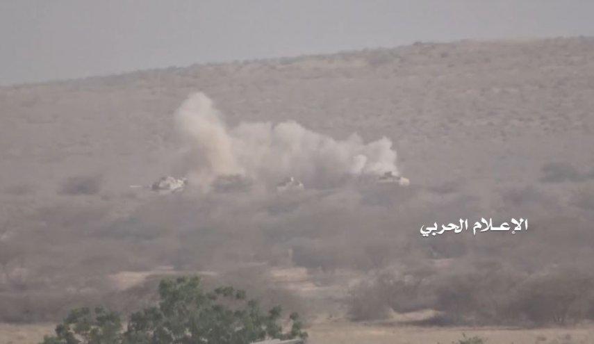 شاهد: بصدورهم العارية  اليمنيون يدمرون أعتى أسلحة الجيش السعودي في حرض!