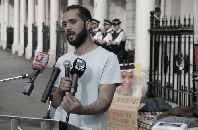 Activist «Ali Mushaima» halts sit-in after promises of 15 MPs to adopt his father's case